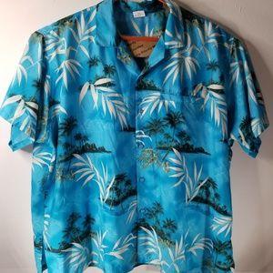 Rima Men's Aqua Blue Beachy Button Up Shirt Sz XXL